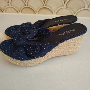 MIA Navy Polka Dot Wedge Sandals Size 7.5